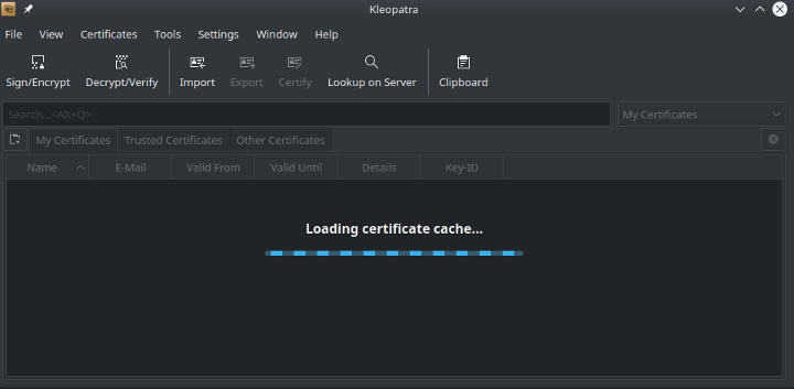 """Kleopatra stuck with """"loading certificate cache"""" message   KBase"""